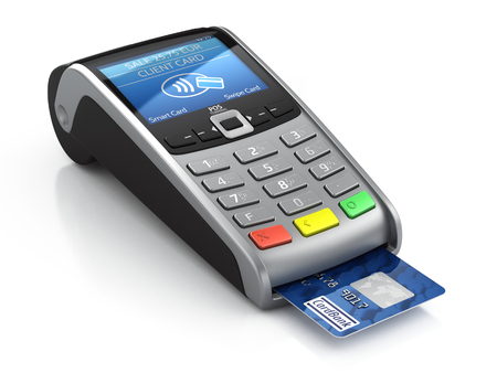 Photo for POS Terminal with credit card isolated on a white background - Royalty Free Image