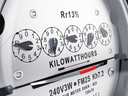 Foto de Kilowatt hour electric meter, power supply meter. 3d rendering - Imagen libre de derechos