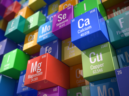 Foto de Essential chemical minerals and microelements - 3d render - Imagen libre de derechos