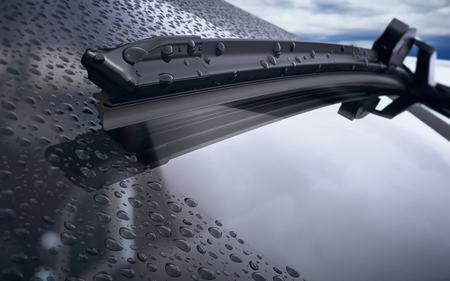 Photo pour Car windshield with rain drops and frameless wiper blade closeup. 3d render - image libre de droit