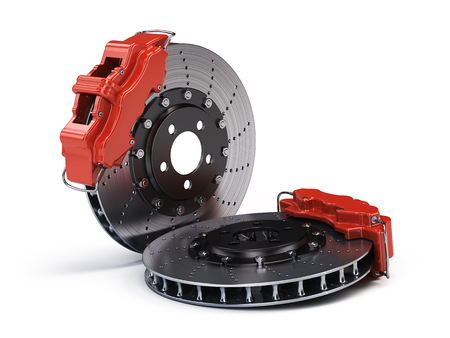 Photo pour Pair of Brake Discs with Red Sport Racing Callipers isolated on white. 3d rendering - image libre de droit