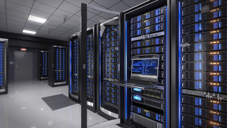 Foto de Rackmount LED console in server room data center - 3d illustration - Imagen libre de derechos