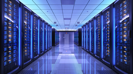Foto de Server racks in server room data center. 3d render - Imagen libre de derechos