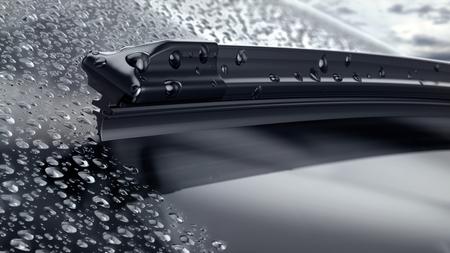 Foto de Car windshield with rain drops and frameless wiper blade closeup. 3d render - Imagen libre de derechos