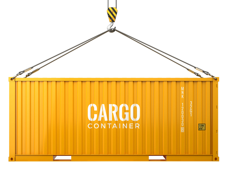 Photo for Cargo freight shipping container isolated on white background. 3d render - Royalty Free Image