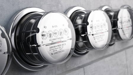 Foto de Kilowatt hour electric meters, power supply meters. 3d rendering - Imagen libre de derechos