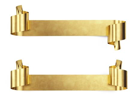 Foto de Gold Metal Banner isolated on white - 3d render - Imagen libre de derechos