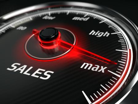 Foto de Great Sales - sales speedometer with needle points to the maximum. 3d rendering - Imagen libre de derechos