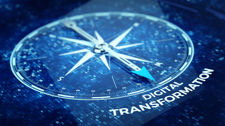 Photo for Digital Transformation concept - Compass needle pointing Digital Transformation word. 3d rendering - Royalty Free Image