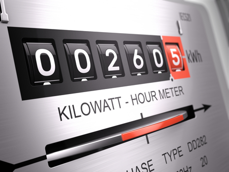 Foto de Kilowatt hour electric meter, power supply meter - closeup view. 3d rendering - Imagen libre de derechos