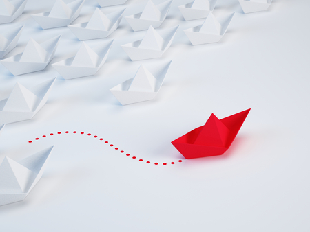 Photo pour Business solution, innovation unique concept - Group of paper ship and one red ship with different way. 3d illustration - image libre de droit