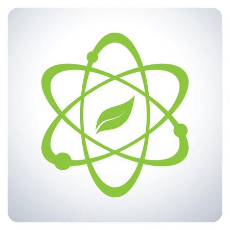 Illustration pour Atom with nature Science. Environmental Protection. Icon symbol design. Vector illustration. - image libre de droit