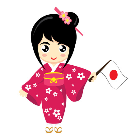 Illustration for Little Girl Wearing Traditional Dress and Holding Japan flag. Vector illustration. - Royalty Free Image