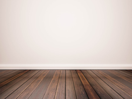 Photo pour hardwood floor and white wall - image libre de droit