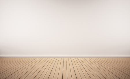 Photo for Oak wood floor with white wall - Royalty Free Image