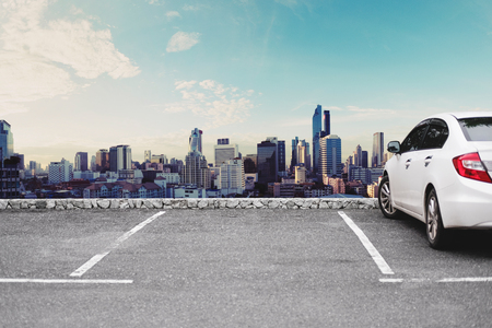 Photo for Car parking lots, sightseeing urban cityscape view in the morning - Royalty Free Image