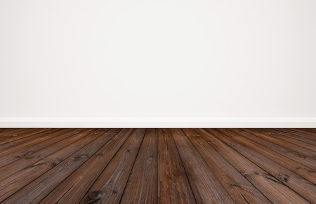 Photo for Dark wood floor with white wall background - Royalty Free Image