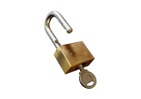 Photo pour Padlock with key, isolated on white background - image libre de droit