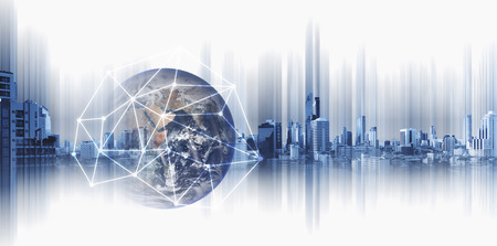 Foto de Global business and networking, Double exposure Globe with network connection lines and modern buildings, on white background. - Imagen libre de derechos