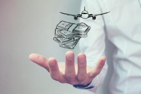 Photo pour money and airplane - image libre de droit