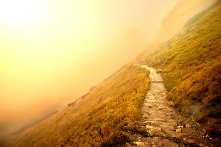 Photo pour Fog in mountains. Fantasy and colorfull nature landscape. Nature conceptual image. - image libre de droit
