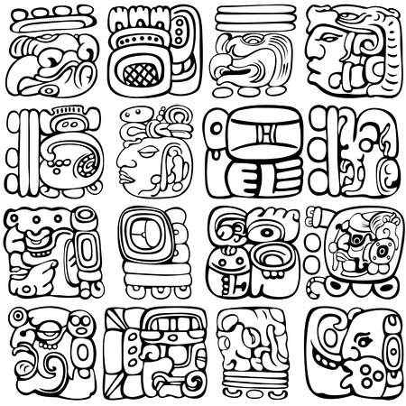 Illustration for Vector set of Mayan and aztec glyphs with ancient gods and characters on white - Royalty Free Image