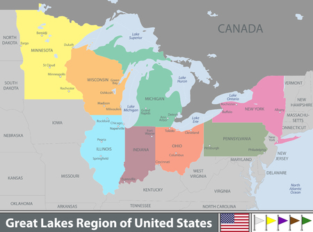Ilustración de Vector set of Great Lakes region of United States with neighboring states - Imagen libre de derechos