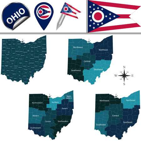 Illustration pour Map of Ohio with named regions and travel vector icons. - image libre de droit