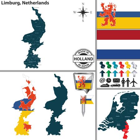 Illustration pour Vector map of Limburg region and location on Dutch map - image libre de droit