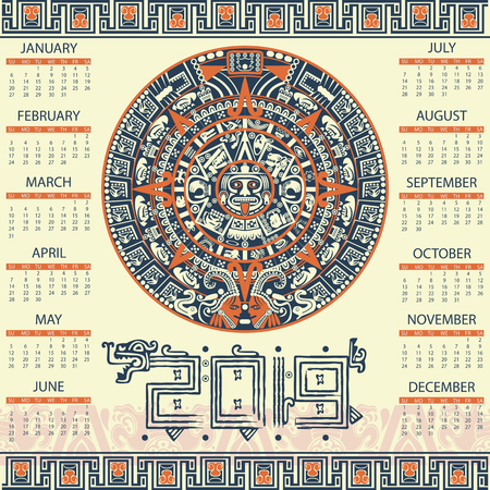 Illustration for Vector calendar 2019 in aztec style - Royalty Free Image