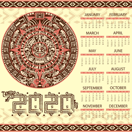 Illustration for Vector calendar 2020 in Aztec style - Royalty Free Image