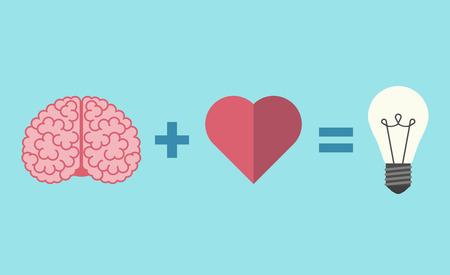 Ilustración de Brain, heart and light bulb equation. - Imagen libre de derechos