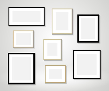 Illustration pour Vector picture frames on wall - image libre de droit