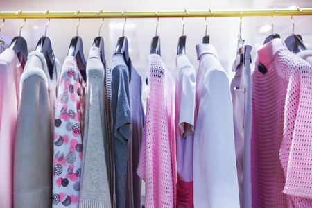Photo for A row of clothes hanging on the rack - Royalty Free Image