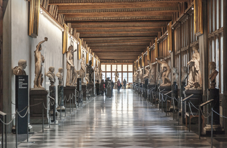 Photo for FLORENCE, ITALY, DECEMBER 6, 2017: Corridor at the Uffizi gallery in Florence - Royalty Free Image