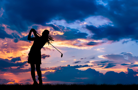 Photo pour silhouette golfer playing golf during beautiful sunset - image libre de droit