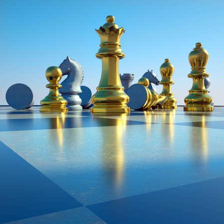 Photo pour Chess battle -defeat - image libre de droit