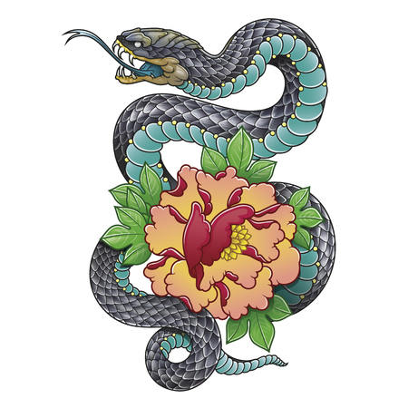 Illustration for oriental snake and peony flower - Royalty Free Image