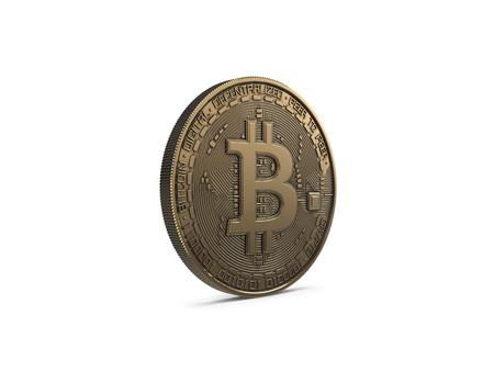 Photo pour Golden Bitcoin isolated on white background. 3D Rendering. - image libre de droit