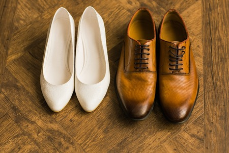 Photo pour wedding beautifull shoes, man's shoes, woman's shoes - image libre de droit