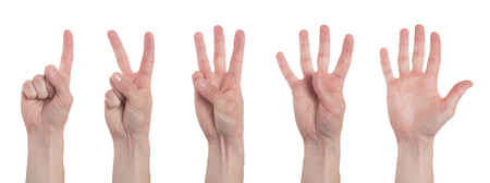 Foto de Male hands counting from one to five isolated on white background. Set of multiple images. Collage - Imagen libre de derechos