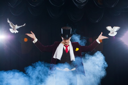 Foto de The magician with a two flying white Doves. on a black background shrouded in a beautiful mysterious smoke - Imagen libre de derechos