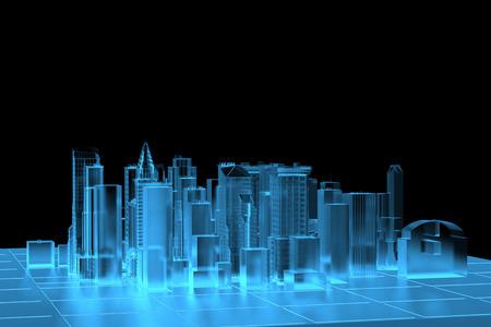 Photo pour City Blue xray transparent rendered - image libre de droit