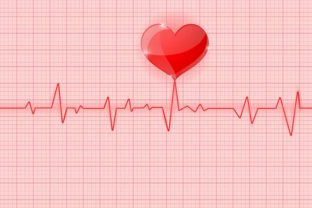 Ilustración de Electrocardiogram. Red waves with heart symbol - Imagen libre de derechos
