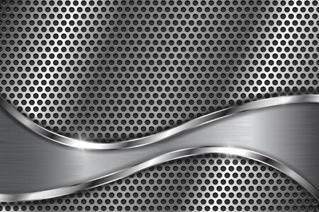Illustration pour Metal perforated background with abstract curved elements. With round holes - image libre de droit