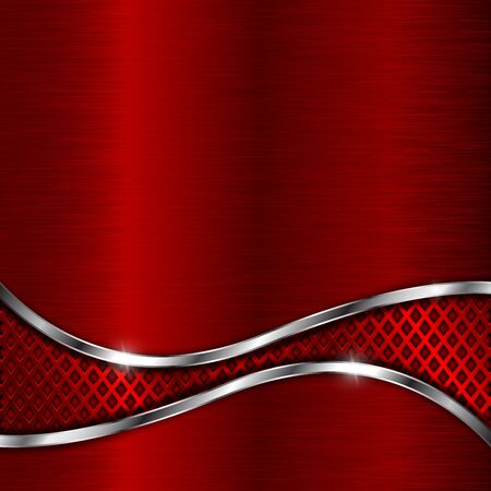 Illustration pour Red metal brushed background with perforated wave element - image libre de droit