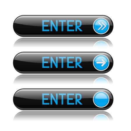Illustration pour Black ENTER buttons with blue tags and reflection. - image libre de droit