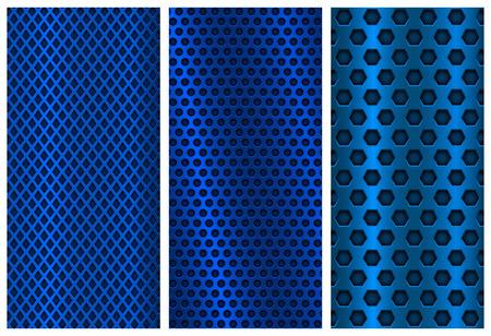 Illustration pour Blue metal perforated backgrounds. Brochure design templates. Steel flyer layouts - image libre de droit