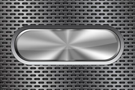 Illustration pour Oval metal button. On iron perforated background. Vector 3d illustration - image libre de droit