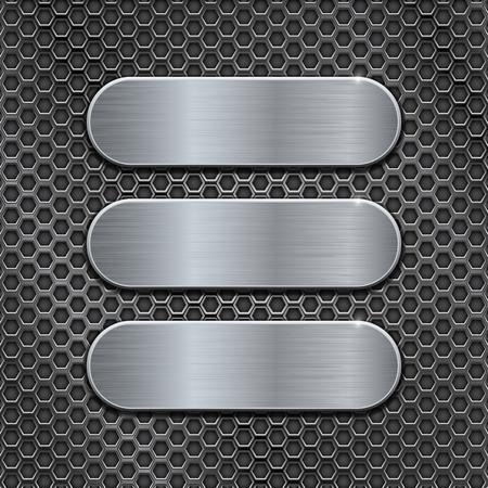Illustration pour Metal brushed plates on perforated background - image libre de droit